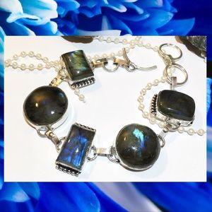Glowing Labradorite Gemstone Vintage Boho Bracelet